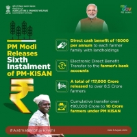 Prime minister releases funding support to 8.5 crore farmers